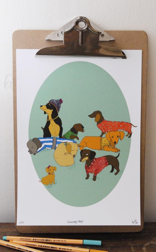 """Sausage Dogs"" - Giclee Print"