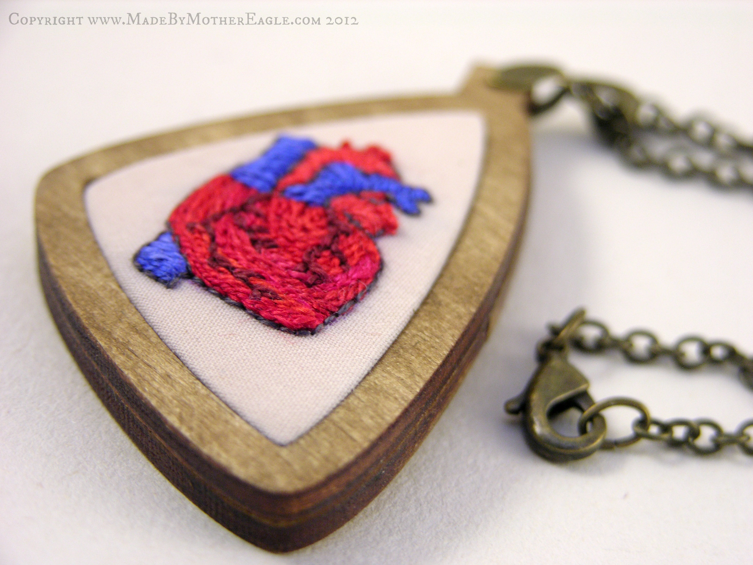 Red and Blue anatomically correct embroidered heart pendant