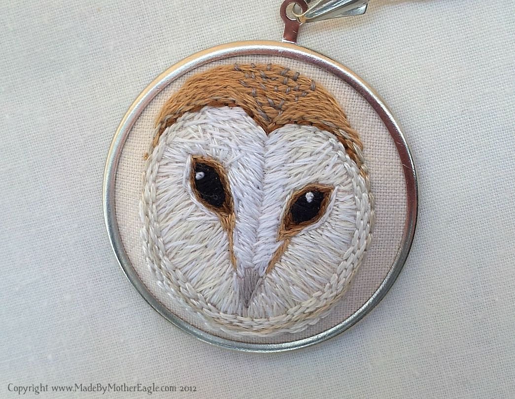 Hand Embroidered Barn Owl Face Pendant
