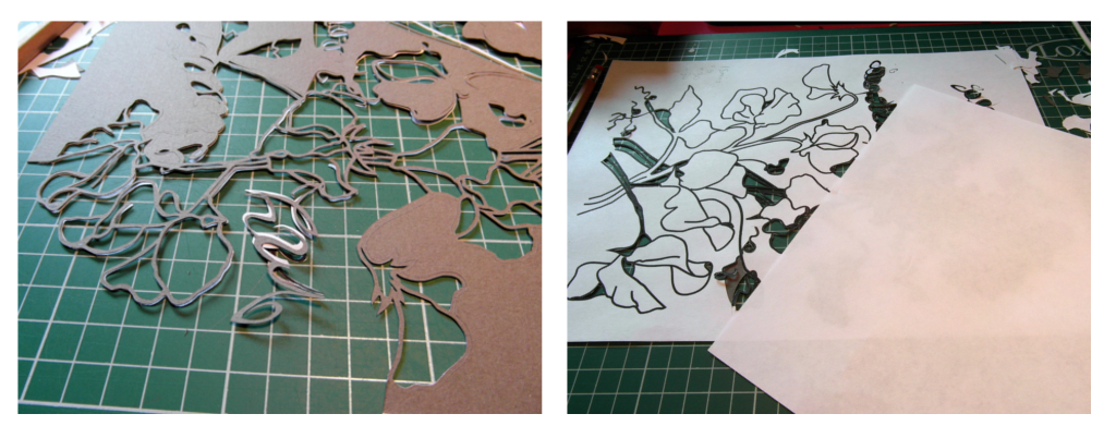 Closeup detail of papercutting process
