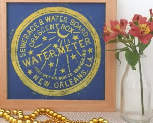 New Orleans Water meter cover lino print