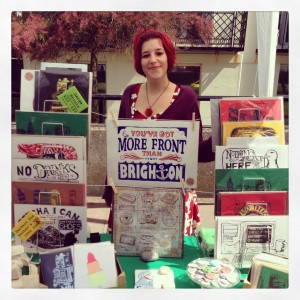 Vicky at a craft fair stall