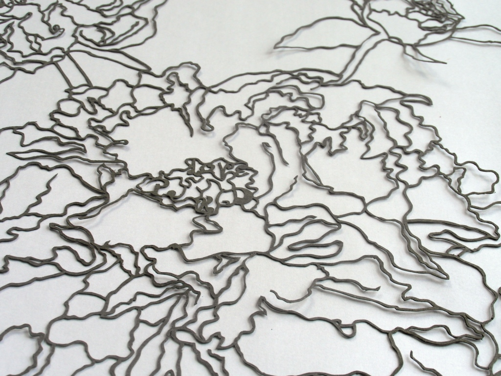 Message detail in peony papercut