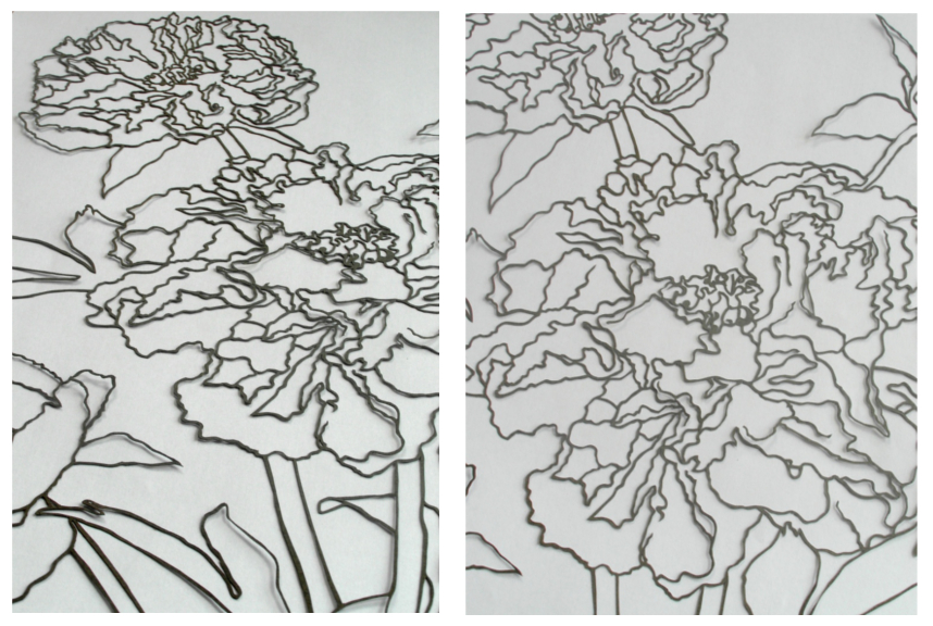 Two detail views of the peony papercut