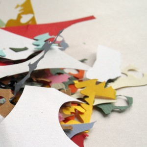 Papercut scraps for eco-friendly confetti
