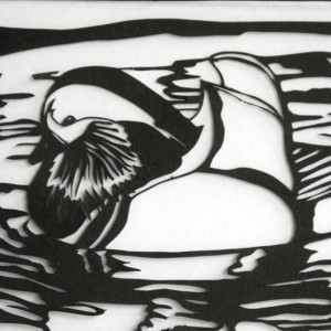 Eco=friendly Mandarin Duck design cut from offcut of paper