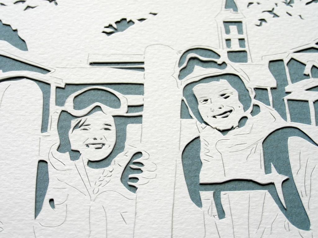 Closeup of Papercut Skiing Couple by Rosie and the Boys