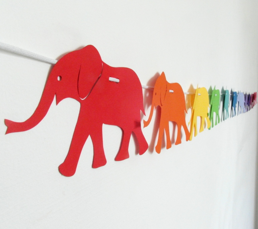 Rainbow Elephant Garland running from Red to Violet