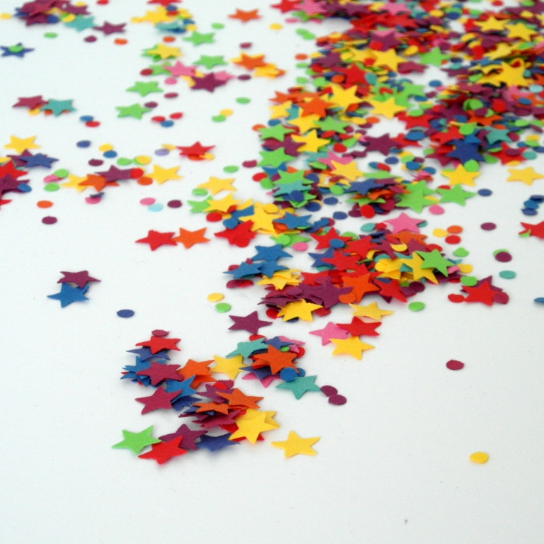 Rainbow Star and Circle Confetti