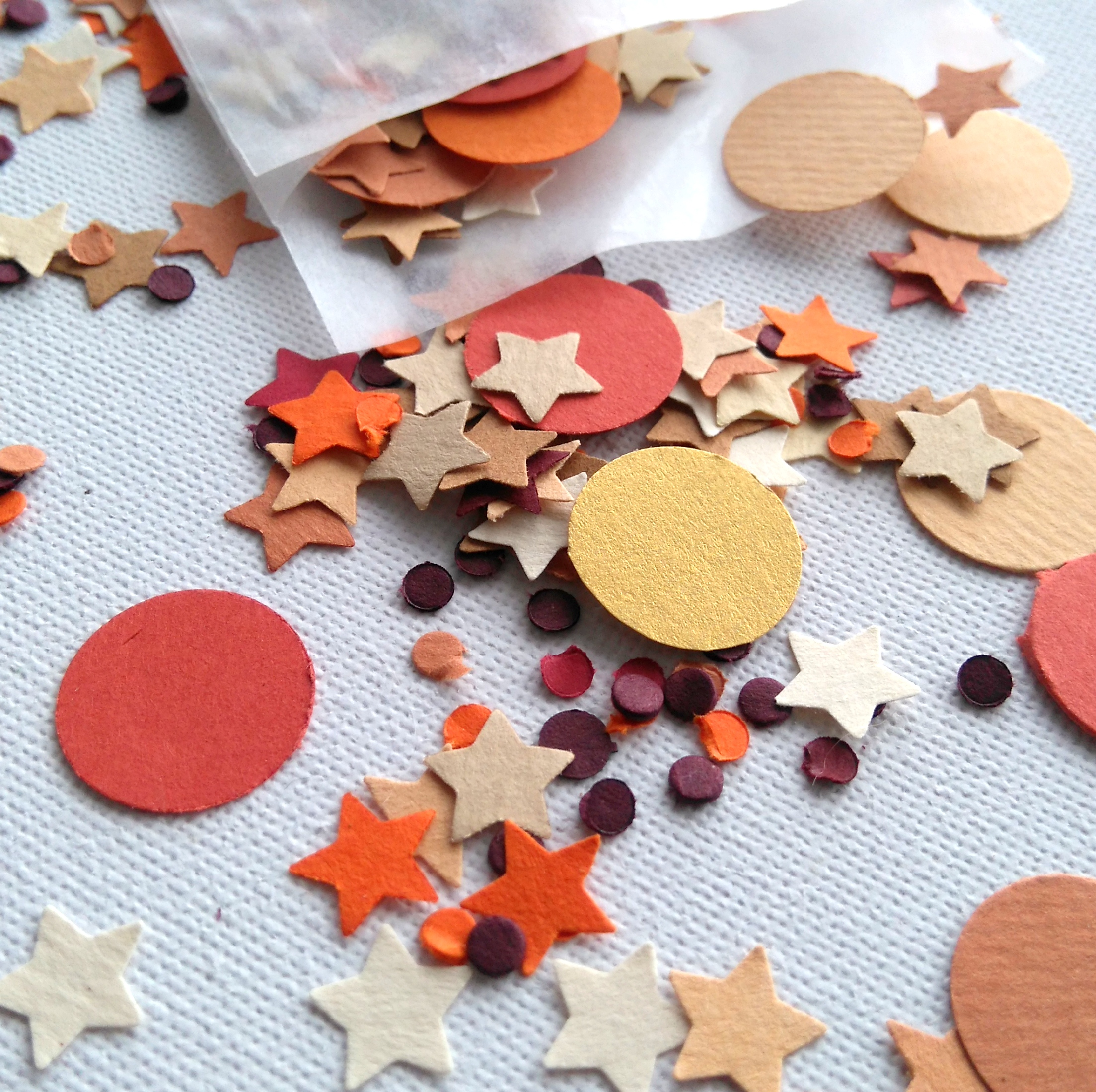 Star and Circle Shaped confetti in autumnal colours