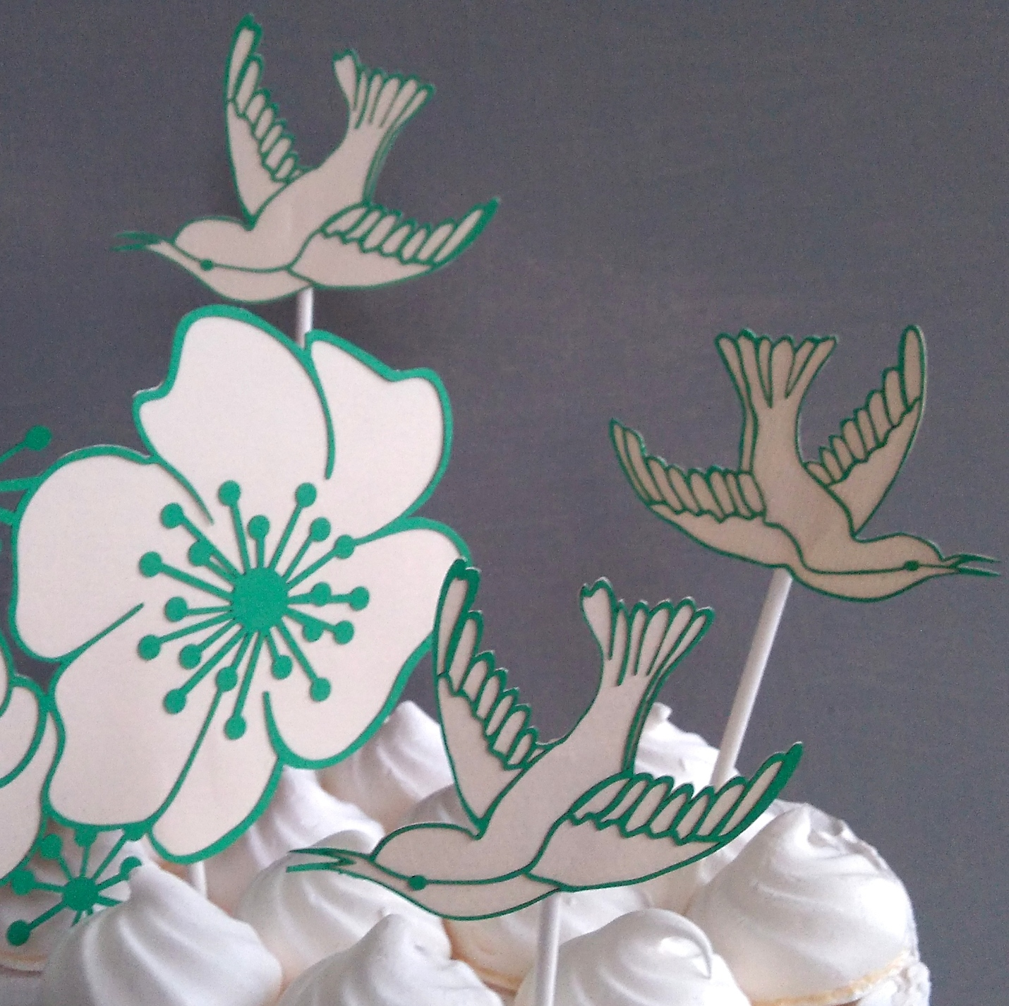 Green and white hummingbirds and hibiscus flower caketopper