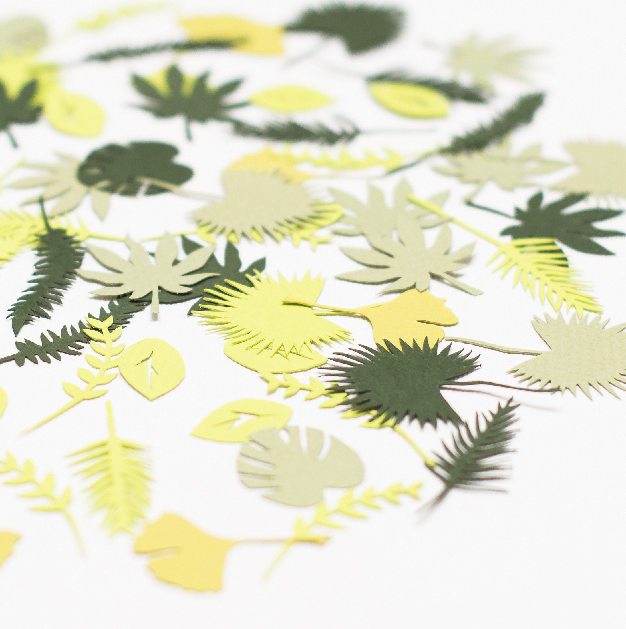 Tropical Leaf shaped table confetti