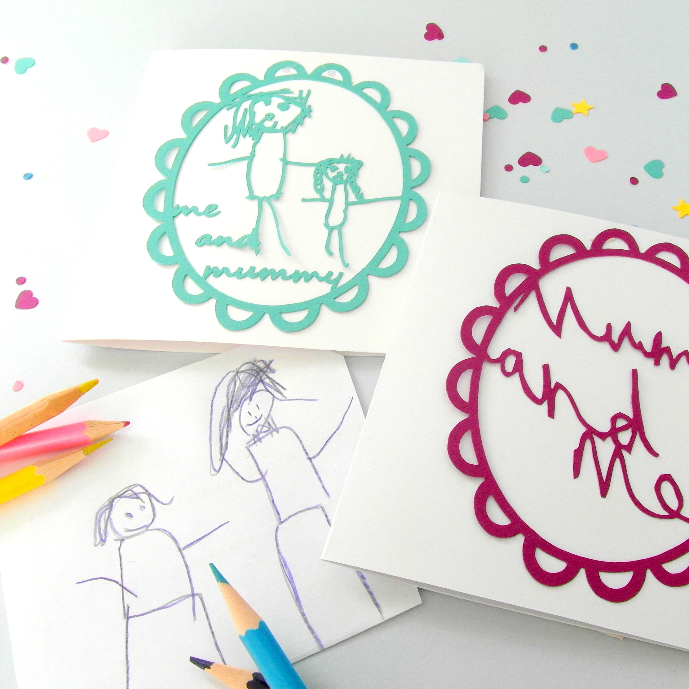 Papercut created from child's original drawing or hand written message