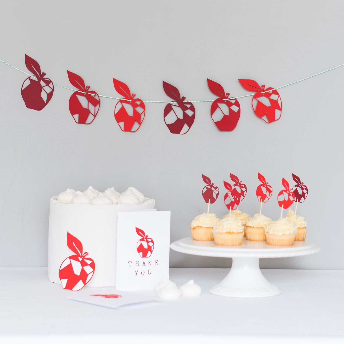 Red Apple Paper Garland, Card, Cake Toppers and gift tag