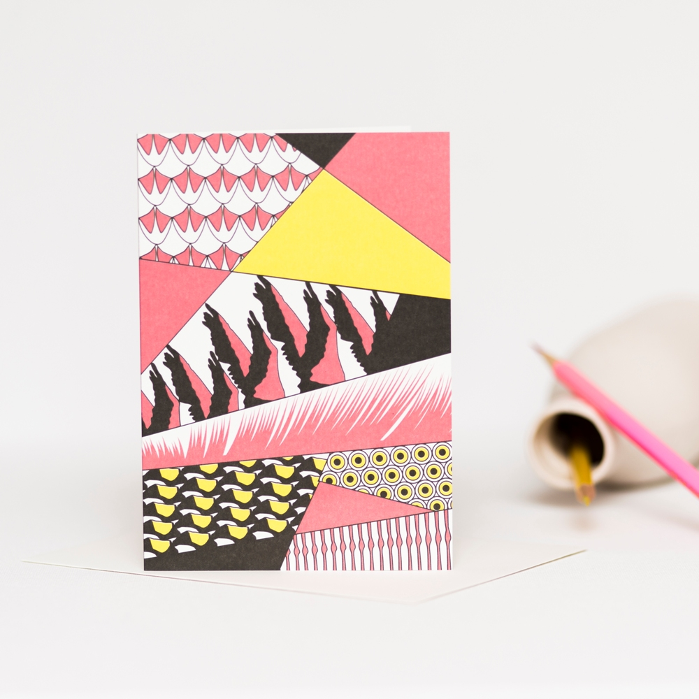 Brightly coloured abstract greetings card featuring flamingos in pink, yellow and black