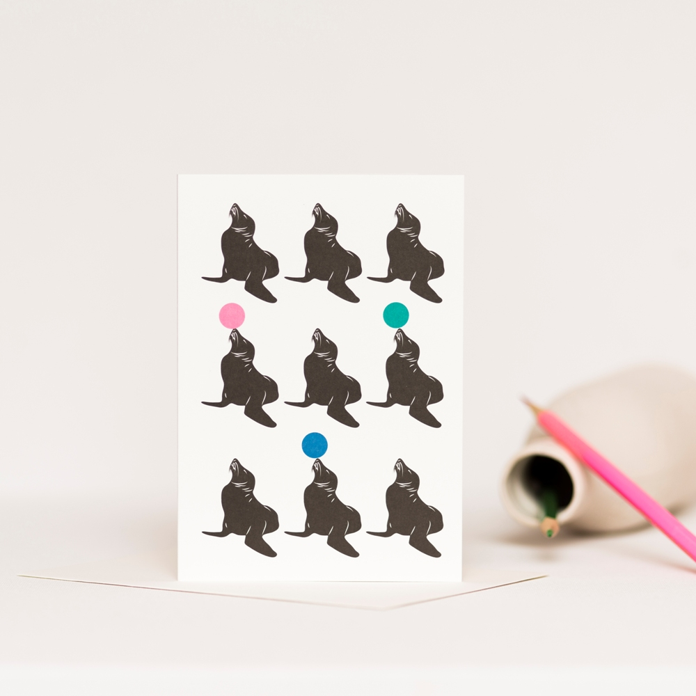 Greetings Card featuring nine sea lions
