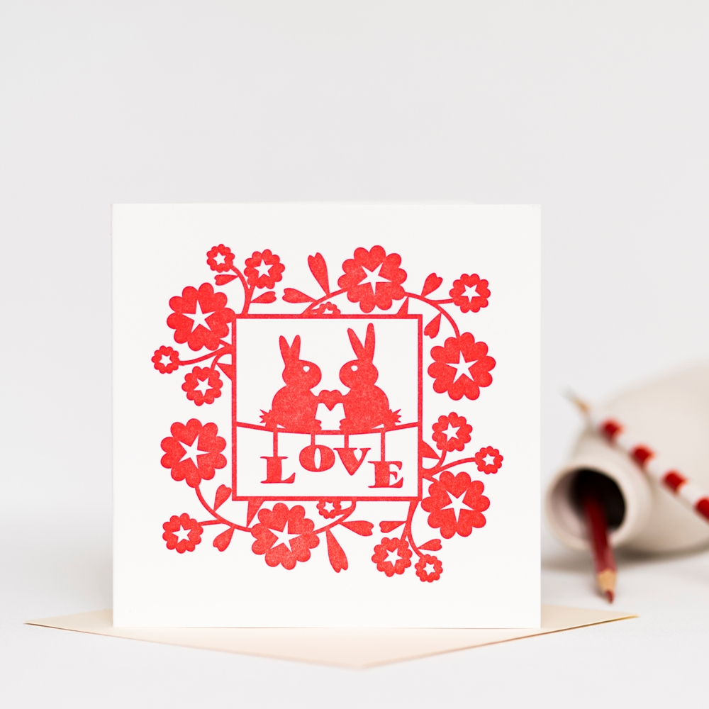 Square Letterpress Greetings Card featuring red love bunnies