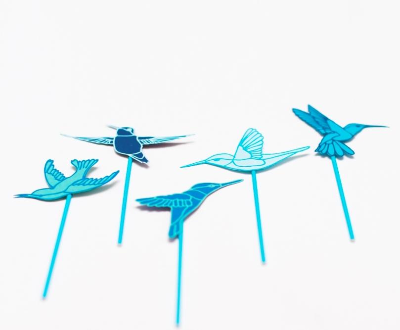 Blue Papercut Hummingbird Cake Toppers